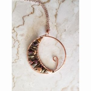 Crescent Moon Pendant Handmade with Genuine Copper